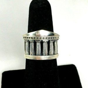 Sterling Silver Womens Roman Temple Ring Size 6